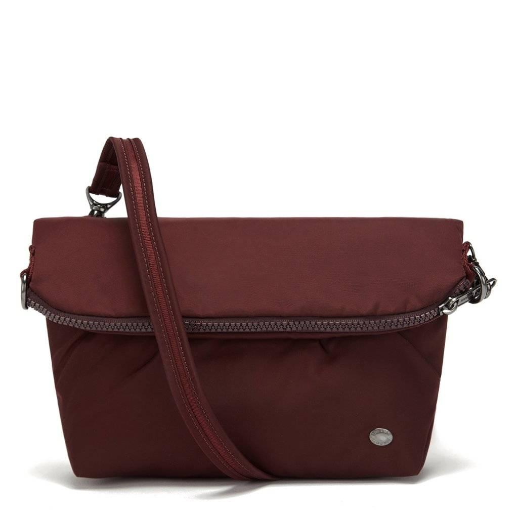 Składana torebka damska antykradzieżowa Pacsafe Citysafe CX Convertible bordowy